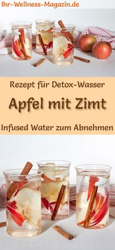 Apfel-Zimt-Wasser – Rezept für Infused Water – Detox-Wasser Detox water – recipe for apple cinnamon water: Infused water or detox water helps with weight loss, is healthy, has almost no calories, dehydrates, detoxifies and purifies the body weight Water Recipes, Detox Recipes, Juice Recipes, Drink Tumblr, Apple Cinnamon Water, Cinnamon Powder, Infused Water Detox, Natural Detox Drinks, Lemon Diet