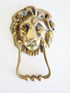Vintage Brass door knocker Lion Mid Century King of Jungle Animal lover Cat