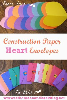 To the Moon and Back: Construction Paper Valentine Heart Envelopes (construction paper hearts) Valentine Crafts For Kids, Valentines Day Activities, Valentines Diy, My Funny Valentine, Valentine Day Love, Heart Envelope, Construction Paper Crafts, Paper Hearts, Fun Crafts