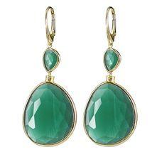 Κοσμήματα ΣΚΟΥΛΑΡΙΚΙΑ - Oxette Gold Plated Earrings, Drop Earrings, Green Opal, Spring Summer 2015, Jewels, Personalized Items, Sterling Silver, Crystals, Bags