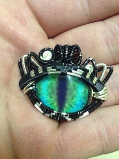 Cat Eye Wirewrapped Pendant - heady wire wrapped pendant art on Etsy, $90.00