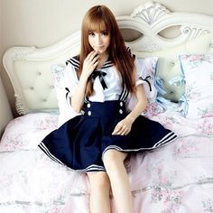 Japan School Uniform  Anime Maid Skirt Sailor Uniform Lolita Dress Japan Girl British Navy Style