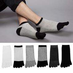 Men's Socks Casual 1 Pair Autumn Winter Warm Style Unisx Men Women Five Finger Pure Cotton Toe High Quality Sock 6 Colors