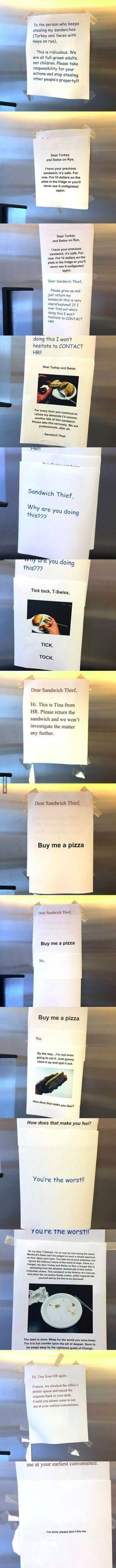 This Guy Kept Taking Co-Workers Sandwiches What Happens Next Is Hilarious. funny jokes story lol funny quote funny quotes funny sayings joke hilarious humor prank stories office pranks funny jokes pranks Lol, Haha Funny, Stupid Funny, Funny Cute, Funny Memes, Jokes, Funny Work, Funny Stuff, Funny Sayings