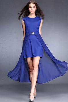 WithChic Blue High Low Two Piece Dress