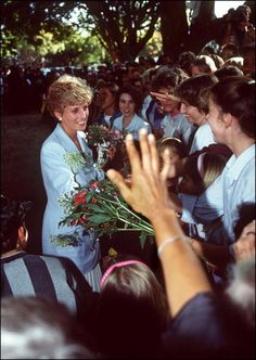 Princess Diana (1961 - 1997) during a walkabout outside the headquarters of the Help The Aged charity in Harare, Zimbabwe, July 1993.