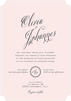 Wedding invitation inspired by Olivia Palermo & Johannes Huebl