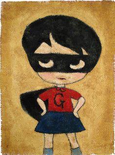 Grumpy Girl Hero  print by jamfancy on Etsy, $21.00