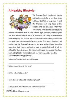 Learners are required to read the passage and then answer the questions that follow. - ESL worksheets