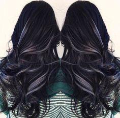 Black hair with grey highlights: