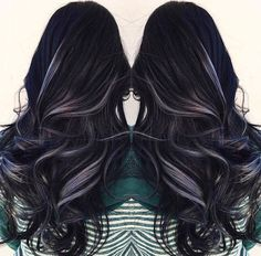 Black hair with grey highlights: