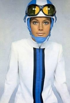 Model wearing a biker look from Pierre Cardin, 1965.