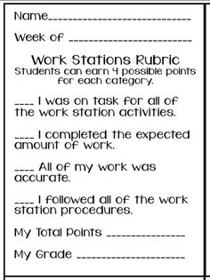 educationjourney: Math Work Stations, rubric