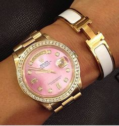 Pink Rolex :) and Hermes bracelet