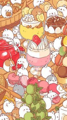 So fudging adorable! Cute Food Drawings, Cute Kawaii Drawings, Cute Animal Drawings, Vintage Wallpaper, Kawaii Wallpaper, Wallpaper Iphone Cute, Beautiful Wallpaper, Arte Do Kawaii, Kawaii Art