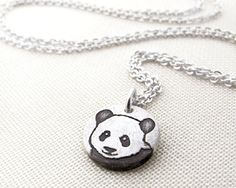 Tiny Panda necklace  silver by lulubugjewelry on Etsy, $28.00, for kaylilan