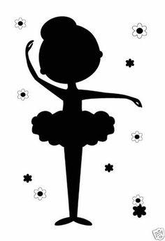 Ballerina Silhouette Wall Art Mural Baby Girl Nursery Kids Room Stickers Decor