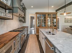 Kitchen :: Wood and Marble Countertops :: Gray, Rustic and Refined Kitchen