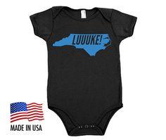 6927d0897 LUUUKE! Bright BLUE Series North Carolina Luke Kuechly Cotton Baby One  Piece Bodysuit - Infant Girl and Boy