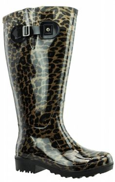 extra wide calf wellies with a leopard print