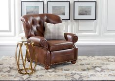 Cromwell Leather Recliner, Omni/Tobacco | CUSTOM QUICK SHIP UPHOLSTERY