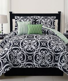 Look at this Black & Green Kennedy Comforter Set on #zulily today!