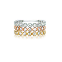 Stackable Millgrain Bezel Rings in 18K White, Rose, and Yellow Gold http://www.alinkandco.com/store-locator/