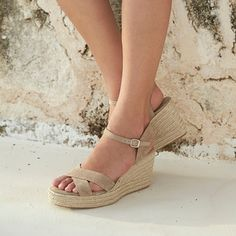 Cross Front Espadrille Wedges