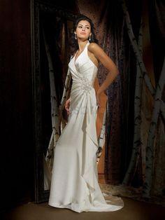 Charmeuse Deep V-Neckline Asymmetrical Side Draped Bodice Column Wedding Dress