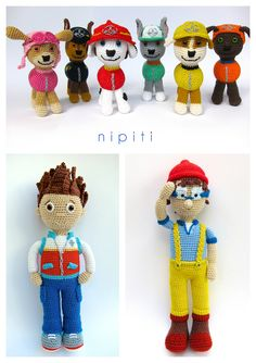 Paw Patrol toys and patterns: Ryder, Cap'n Turbot and six puppies: Marshall, Skye, Zuma, Chase, Rubble and Rocky