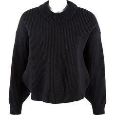 Pre-owned Balenciaga Wool Sweatshirt (€165) ❤ liked on Polyvore featuring tops, hoodies, sweatshirts, black, women clothing knitwear, wool sweatshirt, cropped sweatshirt, drop shoulder sweatshirt, crewneck sweatshirt and crew neck top