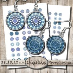Blue Mandala Circles, Digital Collage Sheet, Printable Blue Shades, 12 mm, 15 mm, 18 mm Circles, Blue Digital Mandala, Instant Download, c5 Mandala, Diy Jewelry, Unique Jewelry, Pattern Mixing, Digital Collage, Patterns, Trending Outfits, Handmade Gifts, Earrings