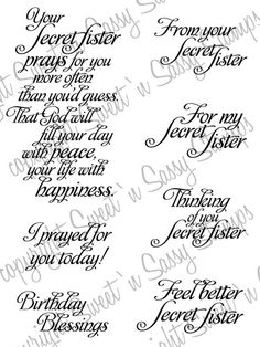 Christian Secret Sister Gifts | Secret Sister Sentiments Digital Stamp - Sweet 'n Sassy Stamps LLC