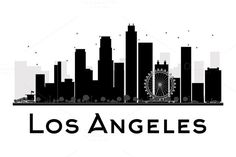 Los Angeles City skyline silhouette by@Graphicsauthor