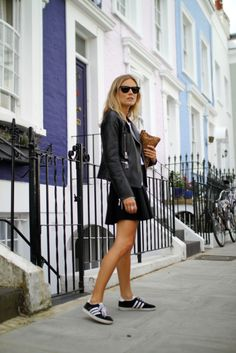 Black skirt, adidas gazelle plus leather and animal print
