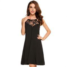 Halter Cross Back Sleeveless Lace Patchwork Dress