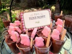 Farm party food ideas. Chocolate pudding and you could use peeps marshmallows