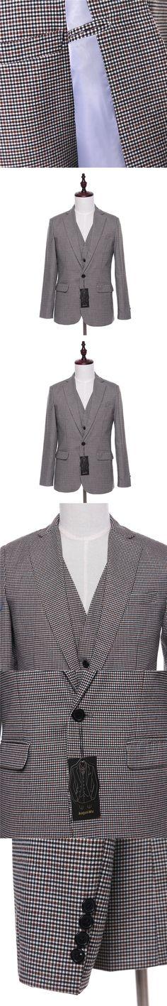 New Men Suit Jacket Plaid Wool Fabrics Herringbone Fashion Wedding Tuxedo Coat Designer Slim Fit Blazer Jackets custom