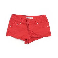 Pre-owned Topshop Denim Shorts ($14) ❤ liked on Polyvore featuring shorts, red, topshop, topshop shorts, denim short shorts, jean shorts and red shorts