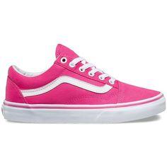 Vans Canvas Old Skool ($55) ❤ liked on Polyvore featuring shoes, sneakers, pink, vans sneakers, pink sneakers, lacing sneakers, canvas sneakers and lace up shoes