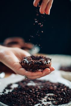 Triple Dark Chocolate Doughnuts w/ Cacao Nibs (vegan & GF)