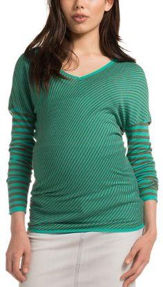 ESPRIT - Jersey premamá regular fit a rayas con cuello de pico de manga larga para mujer, talla M / 38, color varios colores (laurel green 309)