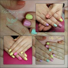 #icecream color #nails for #2014 #summer  CrystaLac #gelpolish color numbers: 35, 76, 115, 33, 117, 124