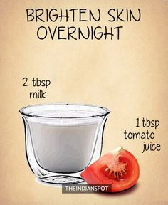 "10 Amazing 2 ingredients all natural homemade face masks Overnight Tomato Mask Tomato contains fruit acid while raw milk contains lactic acid so this ""high acid"" overnight mask is very beneficial for clear and even looking skin tone. Homemade Facial Mask, Face Scrub Homemade, Homemade Facials, Homemade Skin Care, Homemade Masks, Homemade Beauty, Tomato Mask, Egg Face Mask, Peeling"