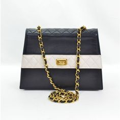 Chanel Navy White Vintage Quilted Leather Shoulder Bag + Pouch CC  #porteropintowin