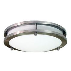 12-in W Brushed Nickel Ceiling Flush Mount - a possible replacement for the unimaginative builder lights in the hall. What do you think?