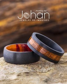 Jewelry by Johan's black zirconium wedding bands are handcrafted with unique hardwoods for a modern, nature-inspired style.