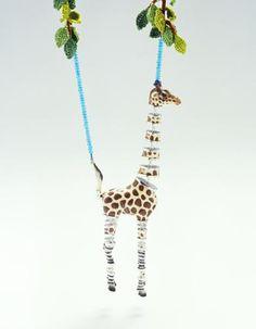Felieke van der Leest 2002 Giraffe with the Zebra Legs necklace plastic, textile, silver, glass beads giraffe 22 x 8 x 3 cm Kids Jewelry, Animal Jewelry, Jewelry Art, Jewelry Accessories, Jewelry Design, Unusual Jewelry, Handmade Jewelry, Mixed Media Jewelry, Plastic Animals