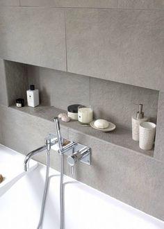 "Modern Bathroom Photos Nische im Badezimmer mit Fliesen grau. approach with this family bathroom was to create a light, modern space,"" says Fiona Ly. Bathroom Niche, Shower Niche, Bathroom Photos, Family Bathroom, Bathroom Toilets, Laundry In Bathroom, Bathroom Shelves, Bathroom Interior, Bathroom Ideas"
