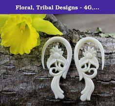 Floral, Tribal Designs - 4G, 5mm Gauge Stretcher Earrings - Bone Carving Body Piercings, Water Buffalo Bone. 4 Gauge, 5mm / 58mm x 27mm / 2.3 x 1.1 inches / Material - Water Buffalo Bone.